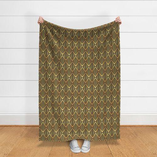 No.272 140cm Remolino Marrón y Oro Diseño Retro Material//Tela de tapicería