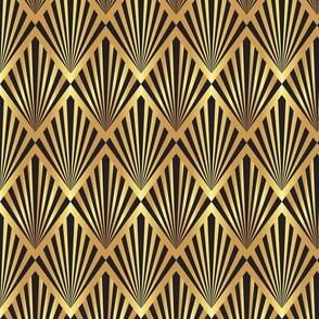 Art deco black fans on gold Wallpaper