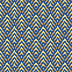 Art deco gold stripes on classic blue Fabric