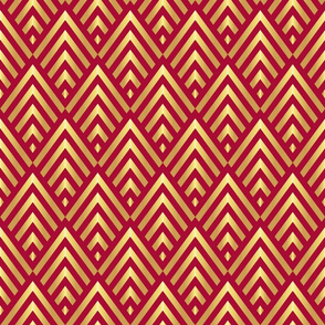 Gold Art Deco stripes on red Wallpaper Fabric