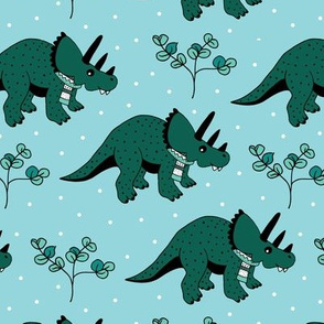 Christmas winter season dinosaurs design cute snow night baby dino print for kids blue green