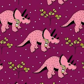 Christmas winter season dinosaurs design cute snow night baby dino print for kids pink maroon