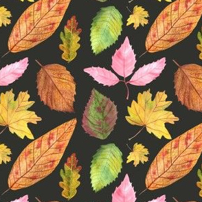 Watercolor Leaves Pattern Black