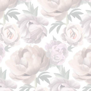 Soft Painted Peonies Large Scale