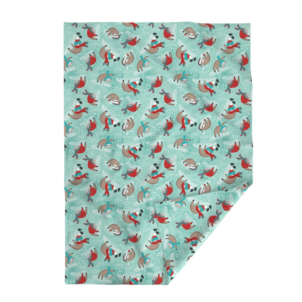 Lakenvelder Throw Blanket featuring Snowy Sloths! by cynthiafrenette