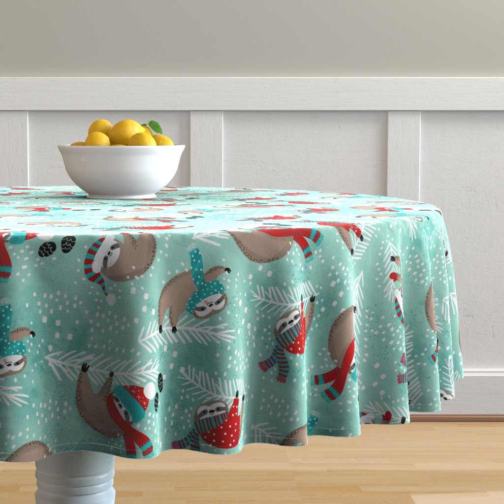 Malay Round Tablecloth featuring Snowy Sloths! by cynthiafrenette