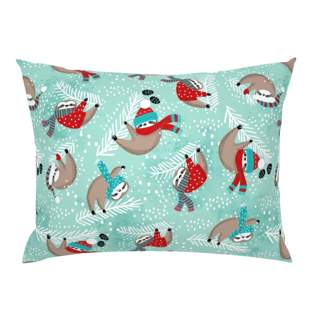 Campine Pillow Sham featuring Snowy Sloths! by cynthiafrenette