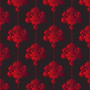 Gothic red damask and pearls fabric on dark background