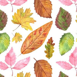Watercolor Leaves Pattern White