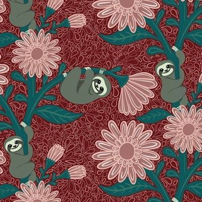 Happy Sloths & Giant Daisies - Red