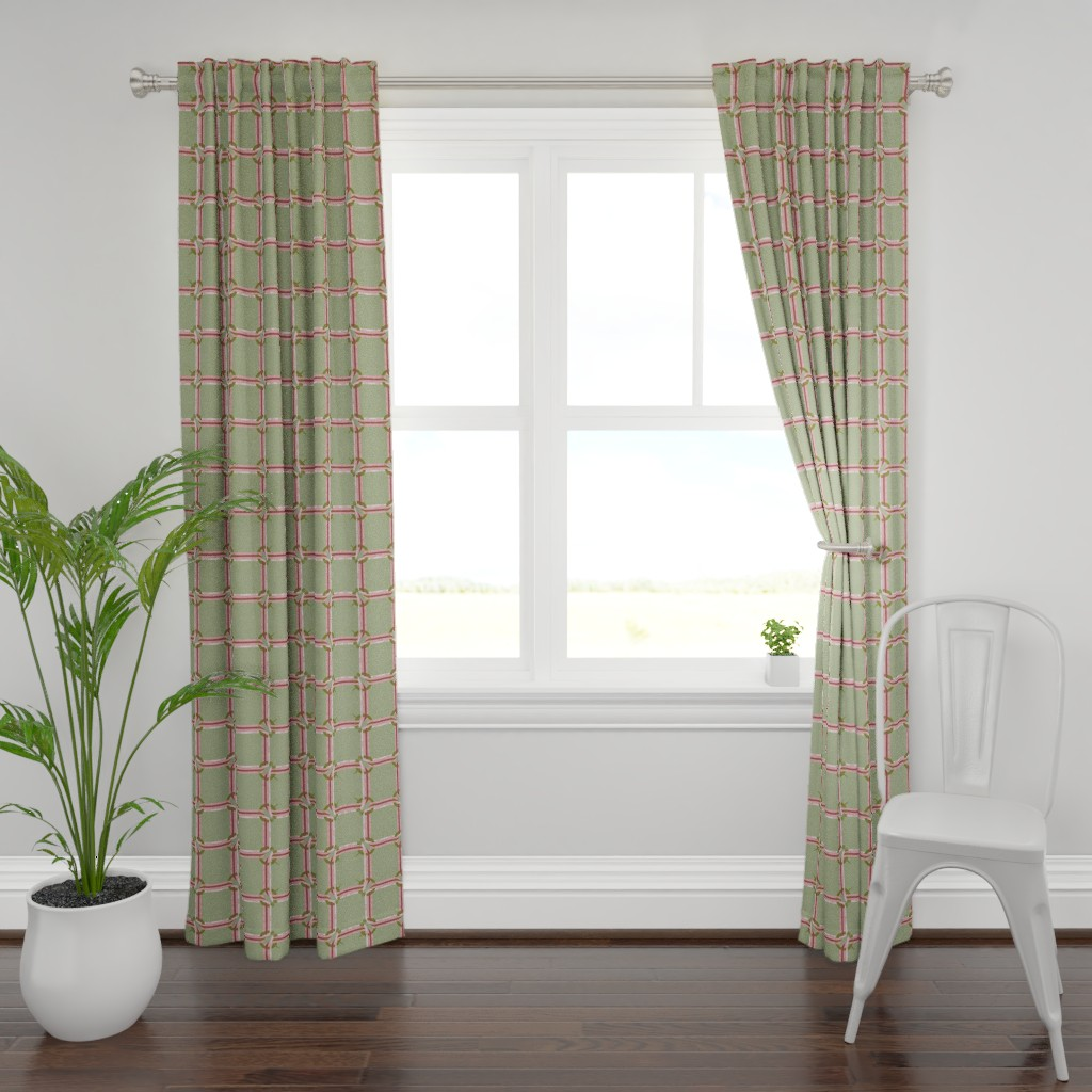 Plymouth Curtain Panel featuring Penannular Plaid | Pink Morning by lochnestfarm