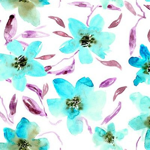 watercolor florals || painted flowers in turquoise blue