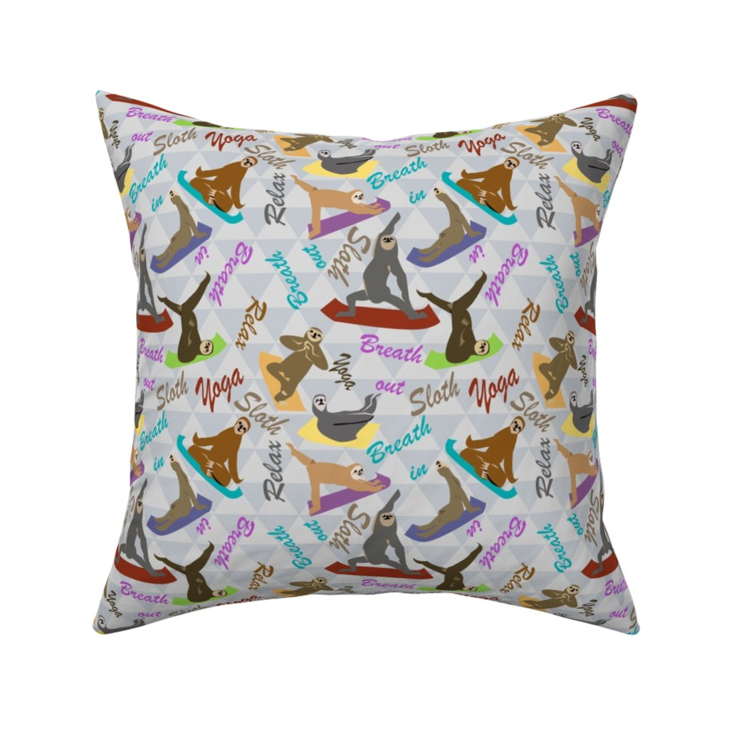 Catalan Throw Pillow featuring Sloths Yoga Routine by lorloves_design
