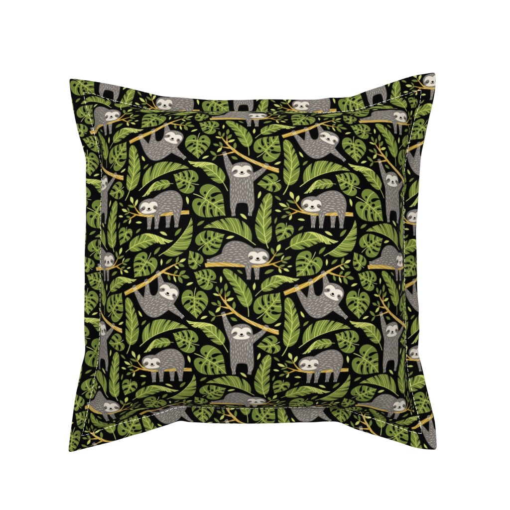 Serama Throw Pillow featuring lazy sloths - black, small by mirabelleprint