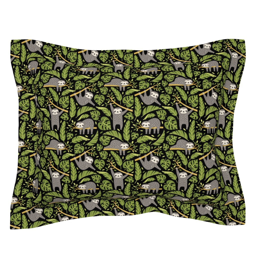Sebright Pillow Sham featuring lazy sloths - black, small by mirabelleprint