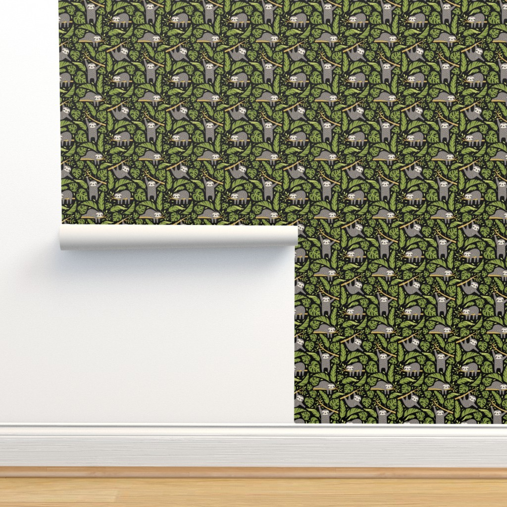 Isobar Durable Wallpaper featuring lazy sloths - black, small by mirabelleprint
