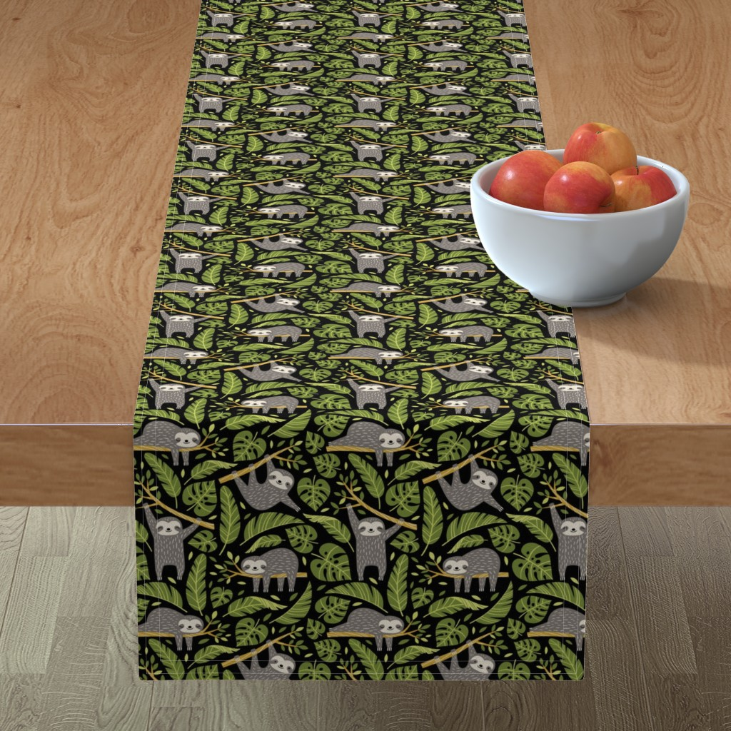 Minorca Table Runner featuring lazy sloths - black, small by mirabelleprint