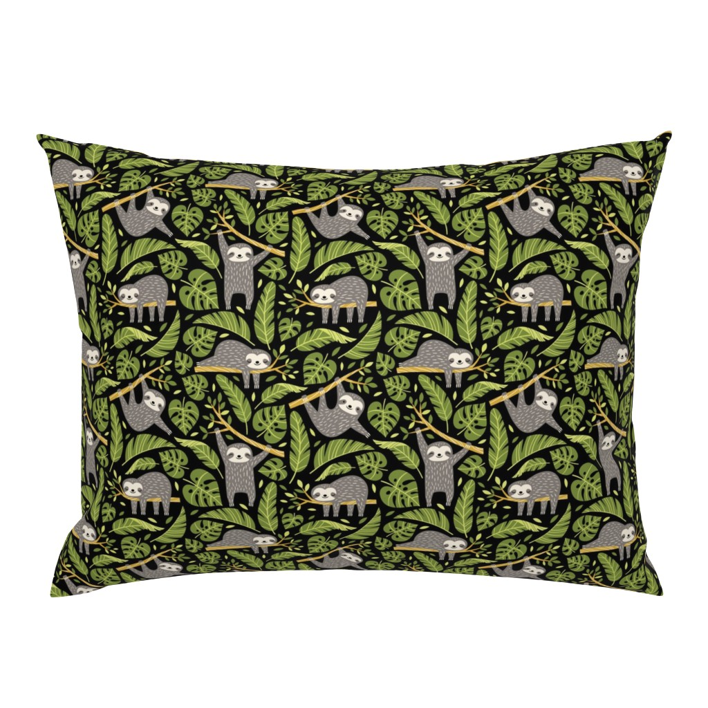 Campine Pillow Sham featuring lazy sloths - black, small by mirabelleprint