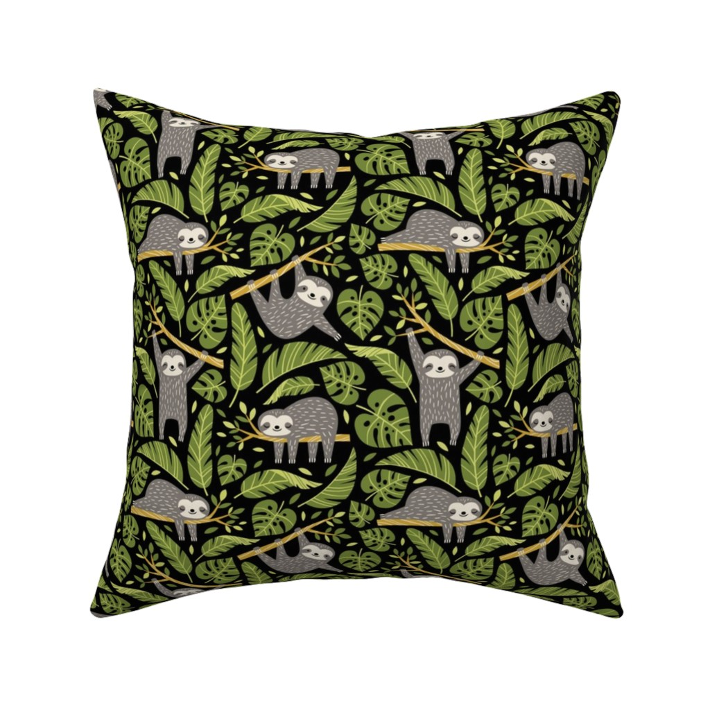 Catalan Throw Pillow featuring lazy sloths - black, small by mirabelleprint