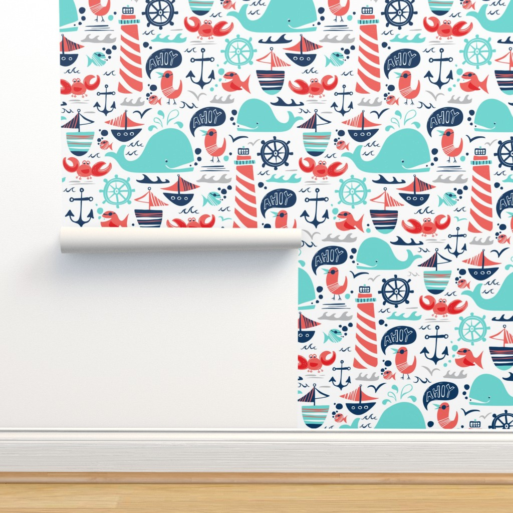 Isobar Durable Wallpaper featuring Ahoy Matey - Summer Nautical Medium Scale by heatherdutton