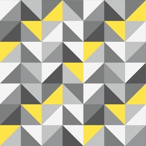 Ultimate Gray Retro triangles Illuminating Yellow Wallpaper Fabric