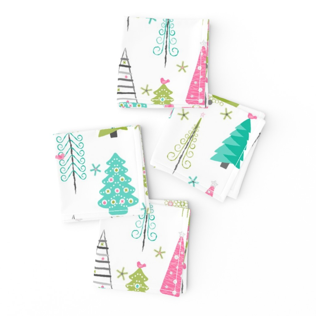 Frizzle Cocktail Napkins featuring Scandinavian Christmas Trees Modern by wickedrefined