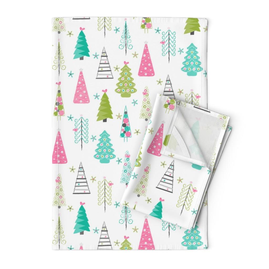 Orpington Tea Towels featuring Scandinavian Christmas Trees Modern by wickedrefined
