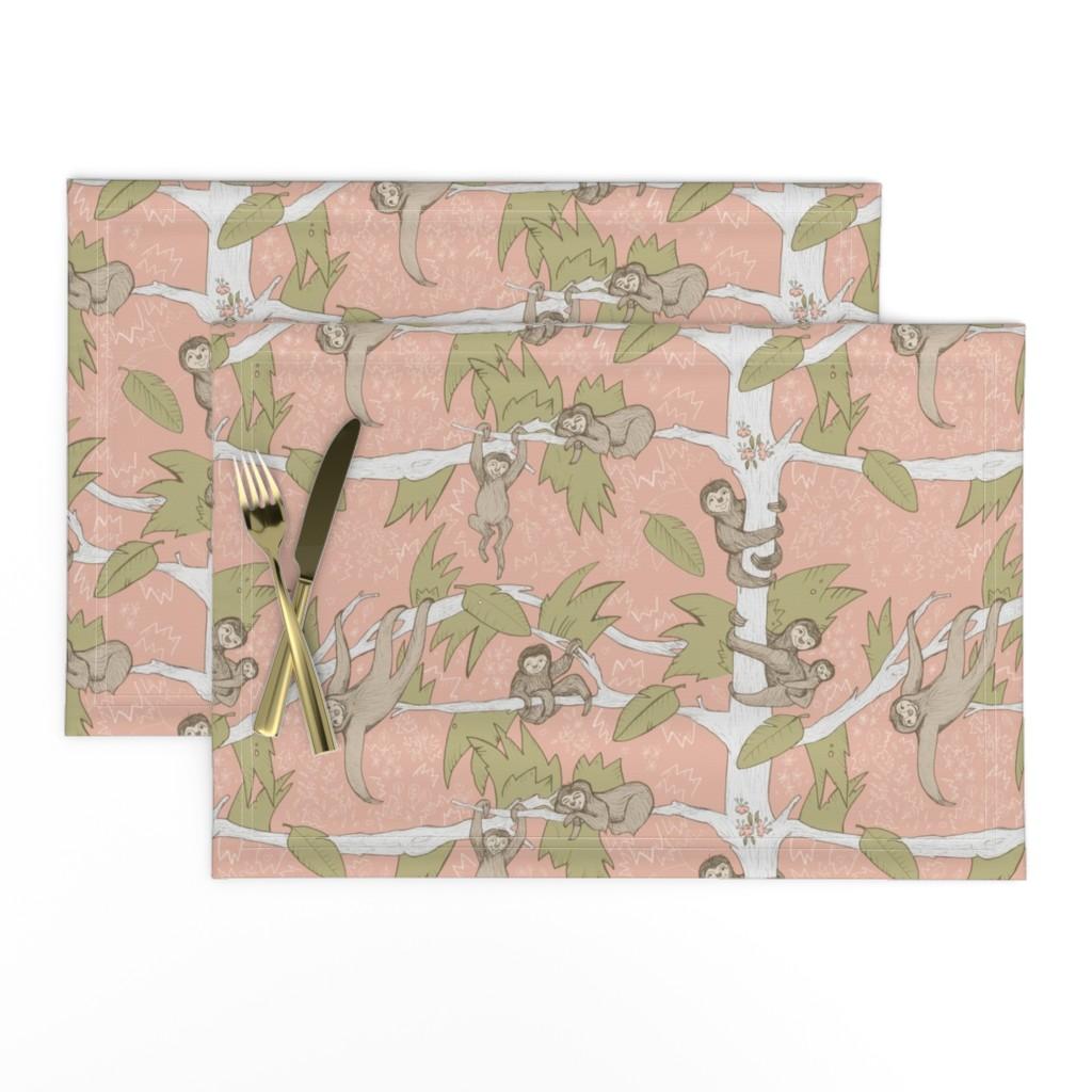 Lamona Cloth Placemats featuring Sleepy Sloth Jungle by nicoletlaursen