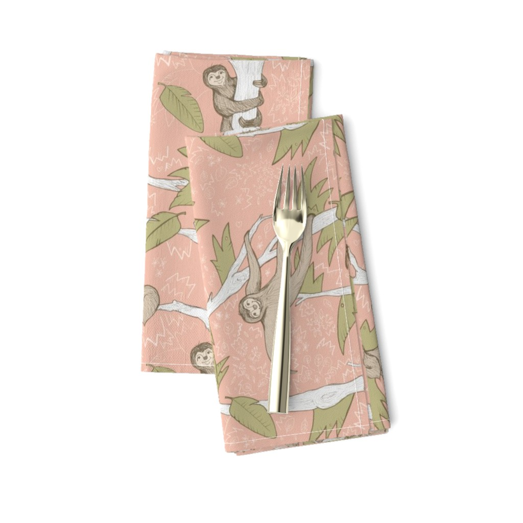 Amarela Dinner Napkins featuring Sleepy Sloth Jungle by nicoletlaursen
