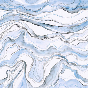 Blue marble, watercolor painted marbled stone