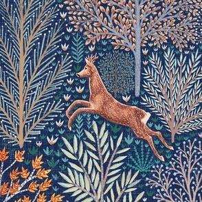 Forest animals on blue background