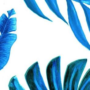 Blue palm watercolor wallpaper //  tropical blue palm