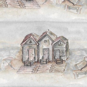 BEACH HUTS VINTAGE SEPIA GRAY BEIGE WATERCOLOR AND INK