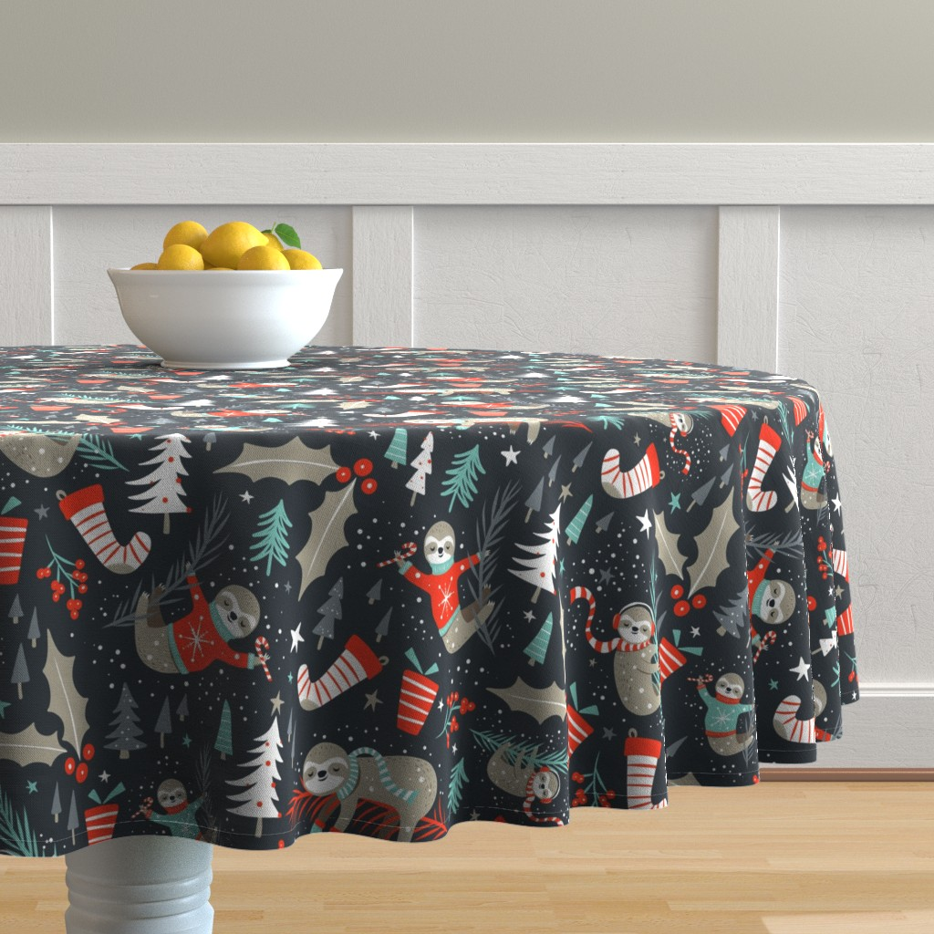 Malay Round Tablecloth featuring Slothy Holidays - Coal Black Medium Scale by heatherdutton
