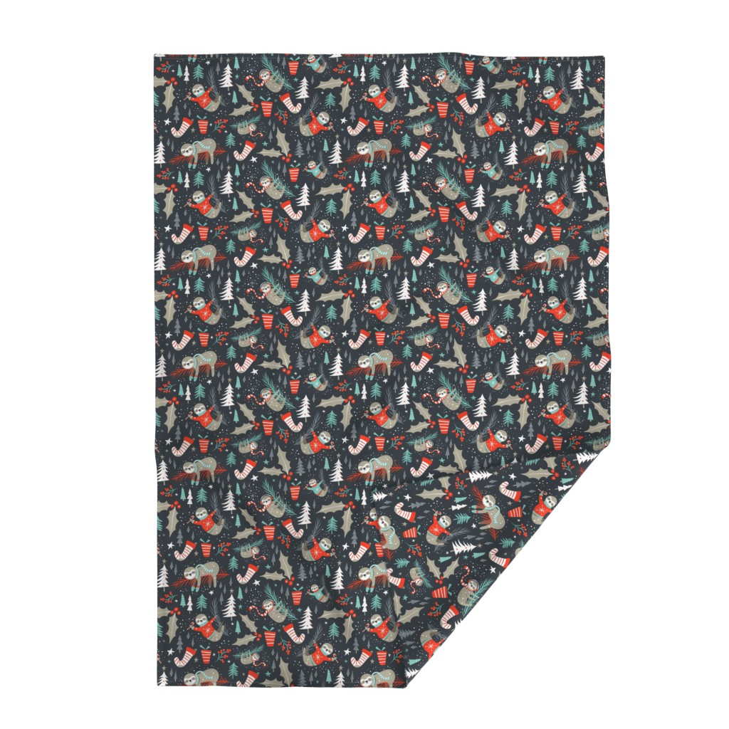 Lakenvelder Throw Blanket featuring Slothy Holidays - Coal Black Medium Scale by heatherdutton