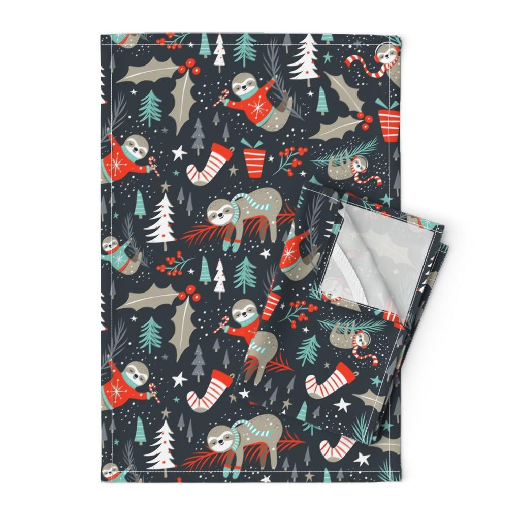 Orpington Tea Towels featuring Slothy Holidays - Coal Black Medium Scale by heatherdutton