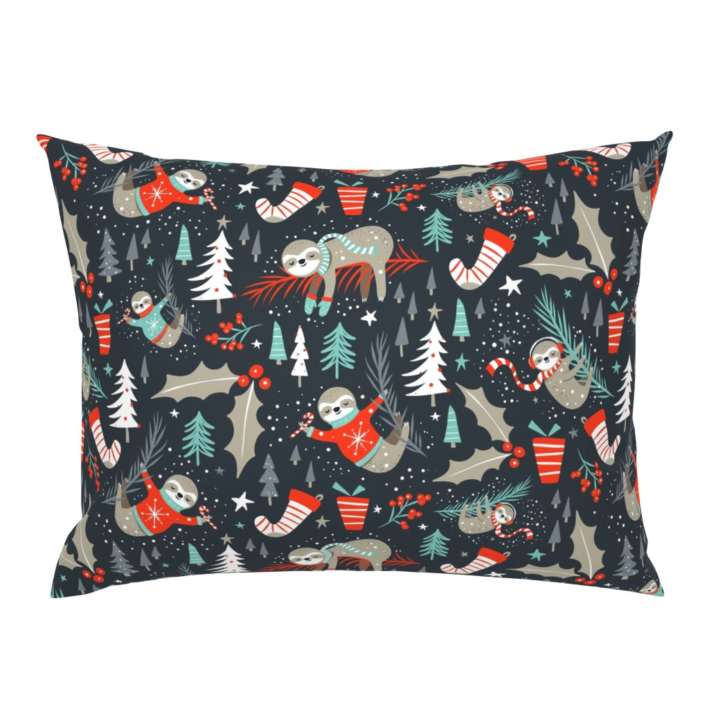Campine Pillow Sham featuring Slothy Holidays - Coal Black Medium Scale by heatherdutton