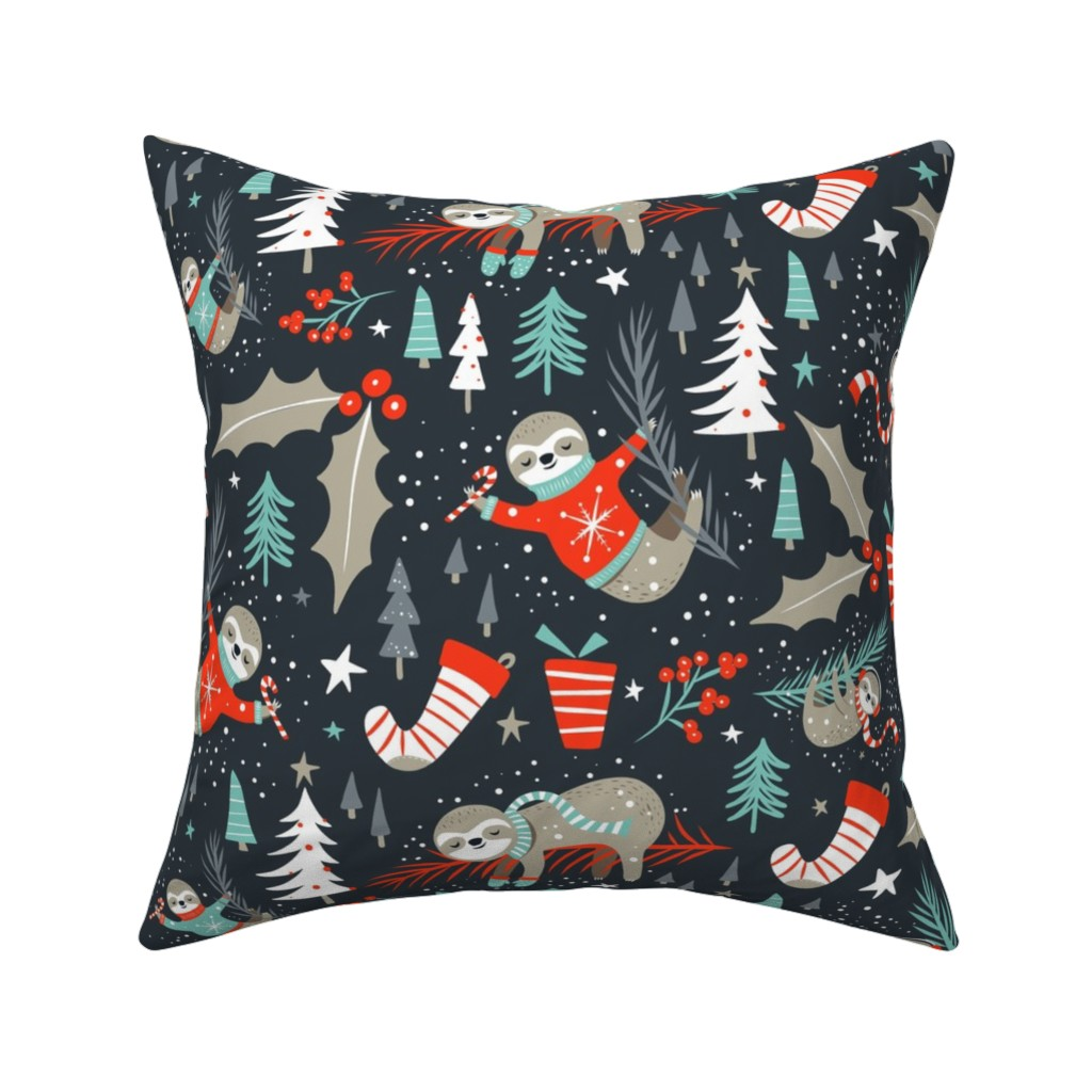 Catalan Throw Pillow featuring Slothy Holidays - Coal Black Medium Scale by heatherdutton