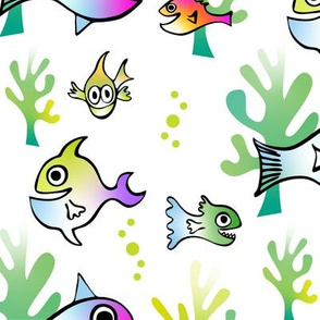 Watercolor Funny Fish on White