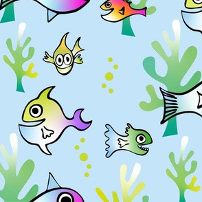 Watercolor Funny Fish on Blue