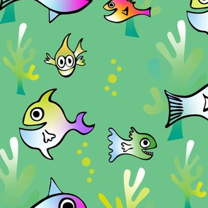 Watercolor Funny Fish on Green