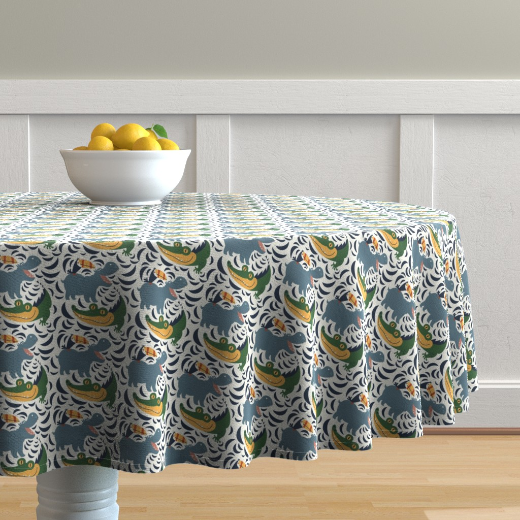 Malay Round Tablecloth featuring See you later Alligator by hooraytoplay