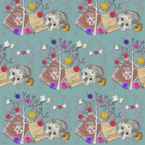 french bulldog collage wall paer and fabric