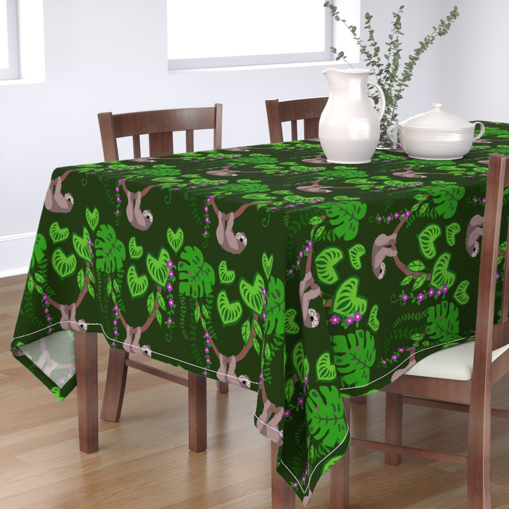 Bantam Rectangular Tablecloth featuring Sloth in a tropical rainforest, by mandala_flower