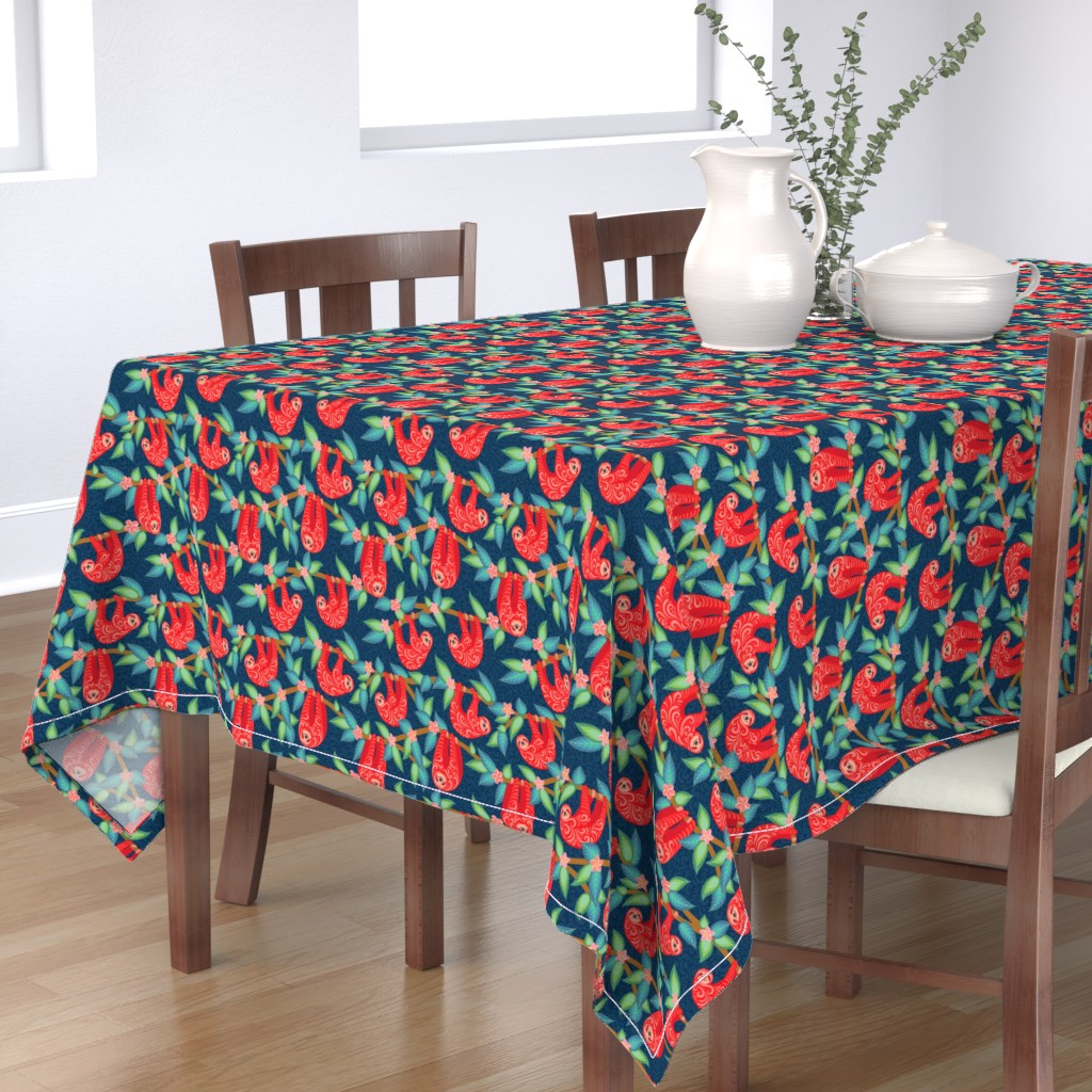 Bantam Rectangular Tablecloth featuring Cute sloths with ornament by irina_skaska