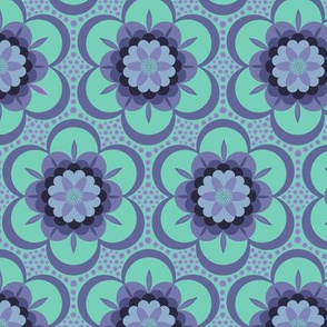 Bold floral - mint and purple
