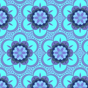 Bold floral - purple on aqua