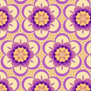 Bold  floral - purple and apricot