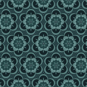 Gothic bold floral - charcoal and petrol grey