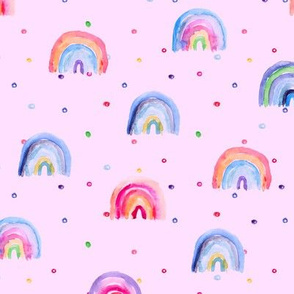 Rainbow baby dreams on pink || watercolor brush stroke pattern for baby girl's nursery
